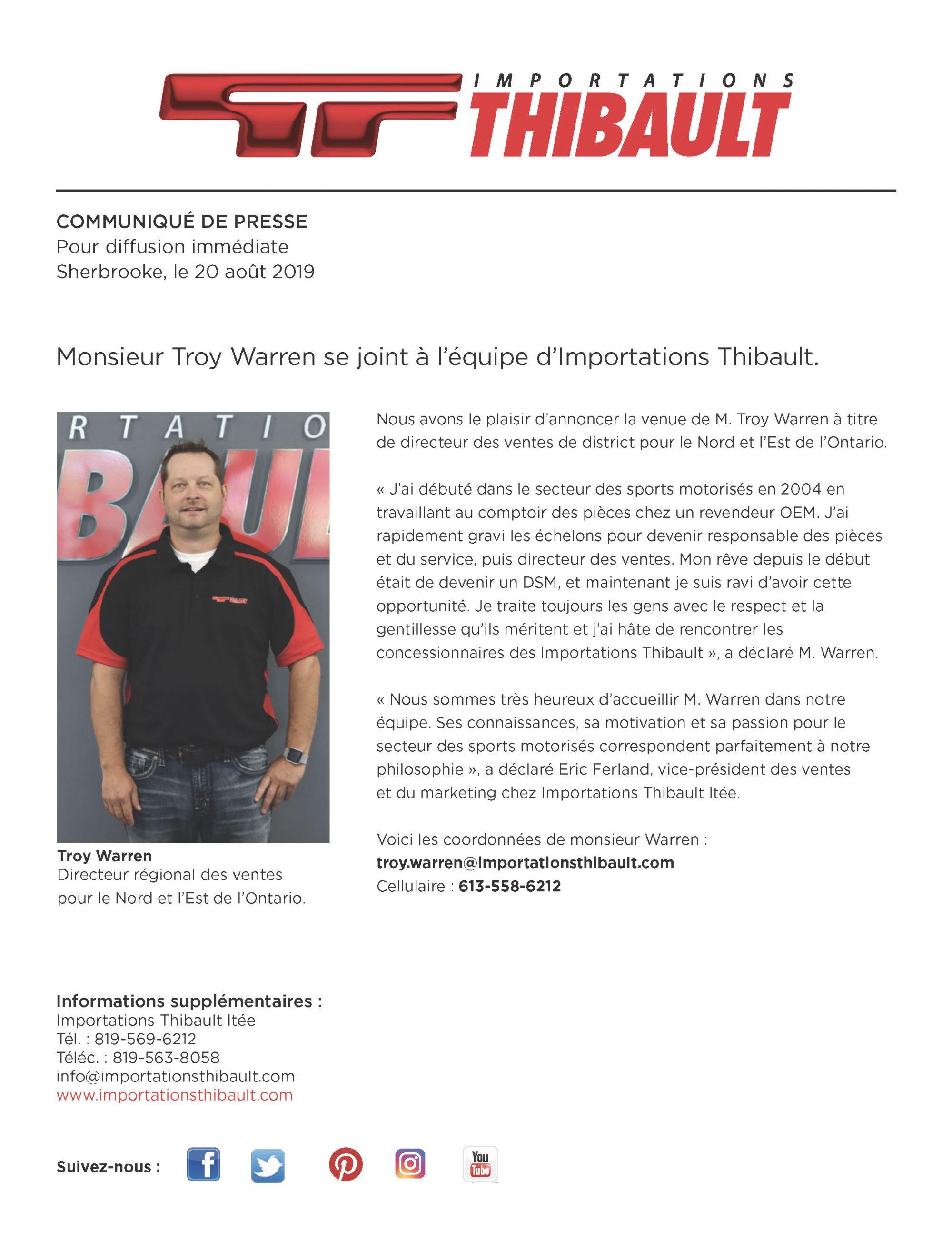 Monsieur Troy Warren se joint à l'équipe d'Importations Thibault.