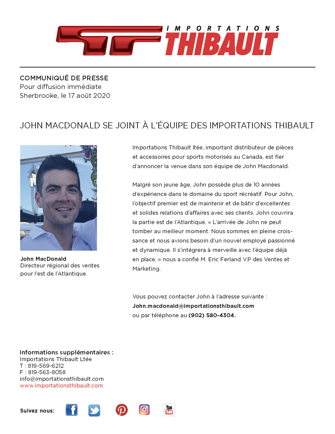 Mr John Macdonald joins the Importations Thibault team.