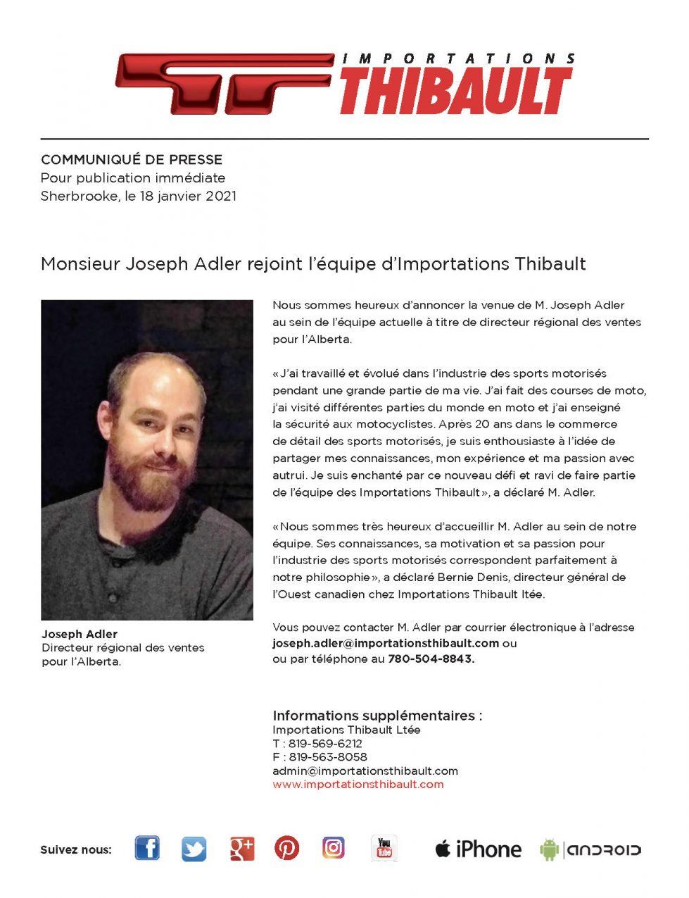 Monsieur Joseph Adler se joint à l'équipe d'Importations Thibault.