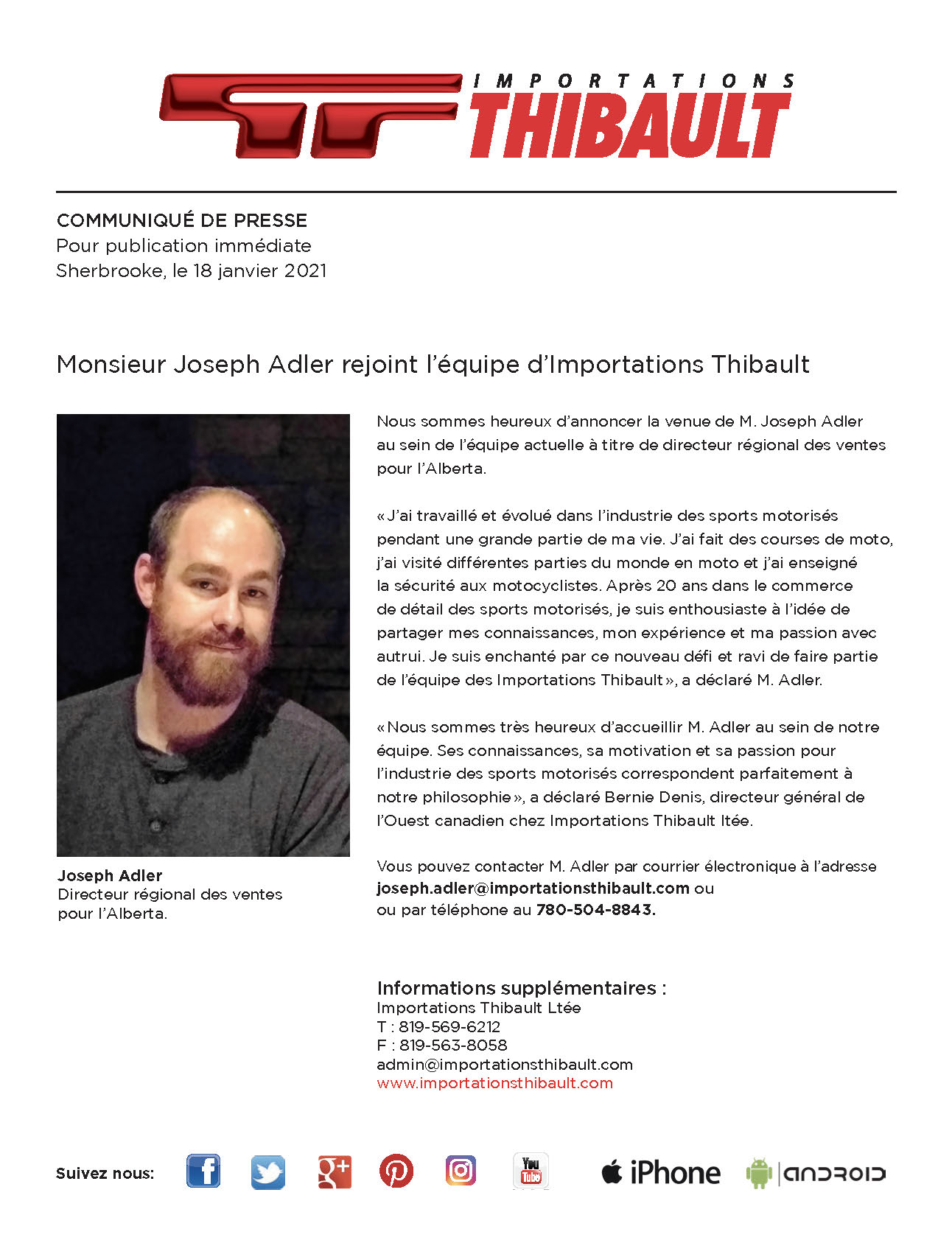 Mr Joseph Adler joins the Importations Thibault team.