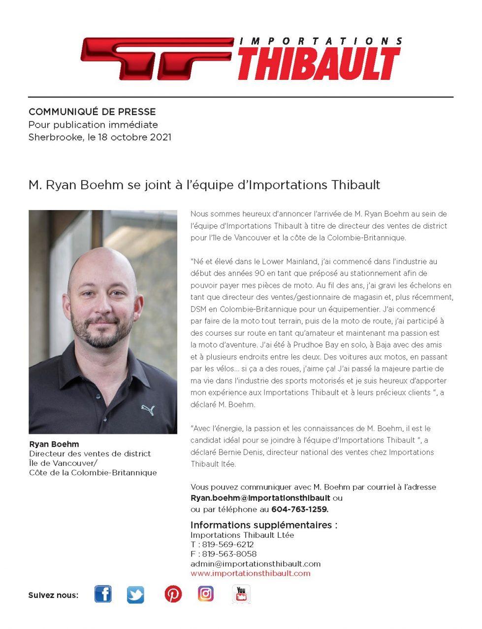 M. Ryan Boehm se joint à l'équipe d'Importations Thibault